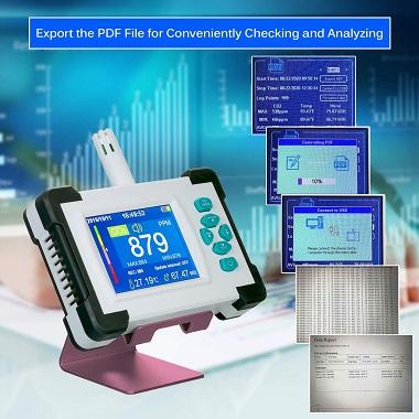 exportacion datos a PDF medidor CO2 Kecheer